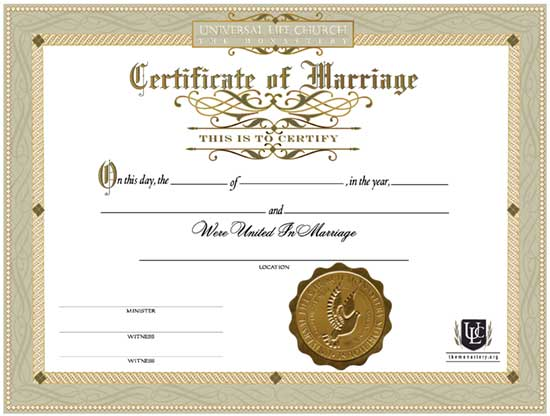 Certificate of Marriage Three Pack