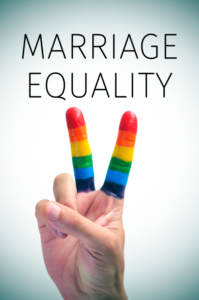 rainbow flag and the text marriage equality