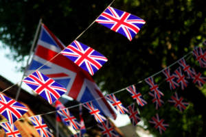 A long string of British flags
