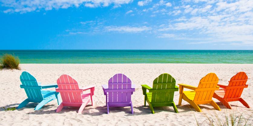 Adirondack Beach Chairs on a Sunny Beach