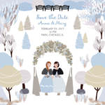 Cartoon wedding card with same sex couple