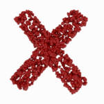 X formed from red rosebuds
