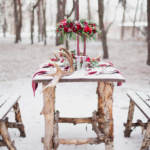 picnic table in the snow