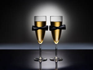 Champagne glasses with bowtie decoration