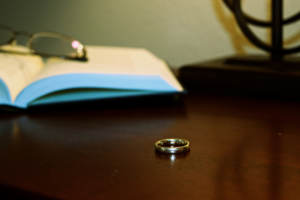 wedding ring on table