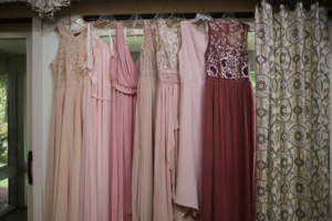 Bridesmaids dresses for a colorful pink wedding