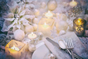 A winter themed wedding table setting