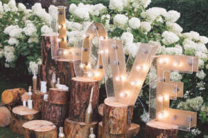 Rustic used wedding shower decor repurposed as wedding decor
