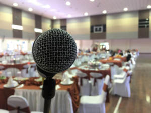 A microphone waiting for some heartfelt speeches