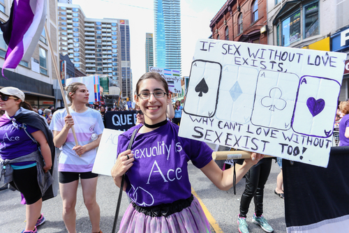 An ace person holding a sign about asexuality